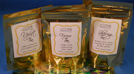 Trinity of Tea, including, focus, sharing and uplift tea